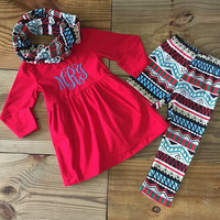 Red Tribal Scarf Outfit Boutique Outfit