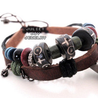 Tribal totem ancient motif carved ox beads leather bracelet from Urban Zen Jewelry Boutique