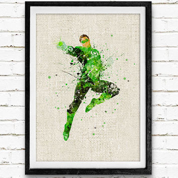Superhero Green Lantern Poster, DC Comics Watercolor Art Print, Kids Bedroom Decor, Gift for Boy, Not Framed, Buy 2 Get 1 Free!