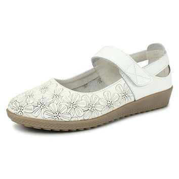 Soft-Soled Shallow Mouth Sunflowers Pattern Loop Casual Flat Shoes