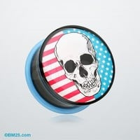 Skull Americana Single Flared Ear Gauge Plug