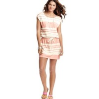 Striped Terry Drawstring Waist Dress