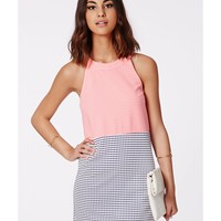 Missguided - Eva Contrast Gingham Shift Dress Pink/Navy