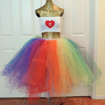 Gay Pride equality love rainbow tutu and top gay love adult tutu tea length tutu rainbow outfit edc edm rave plur festival parade outfit