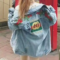 GUCCI rose embroidery Denim Jacket cardigan sweater H-AGG-CZDL