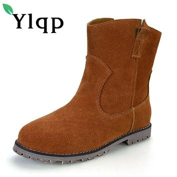 Ylqp 2018 New Female Vintage Casual PU Leather Martin Boots Women's Short Warm Boots Flat Bottom Large Size Shoes 41 42 43 Botas