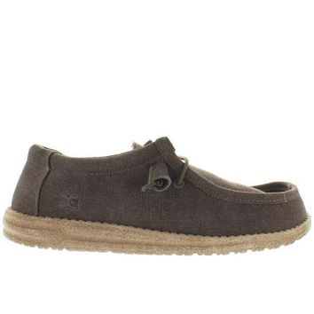 ONETOW Hey Dude Wally - Chocolate/Tan Linen Athleisure Wallabee