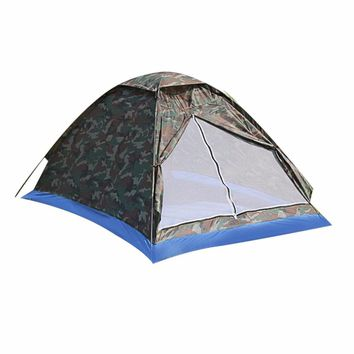 Outdoor Portable Beach Tent | Camouflage Camping Tent for 2 Person | Single Layer Polyester Fabric