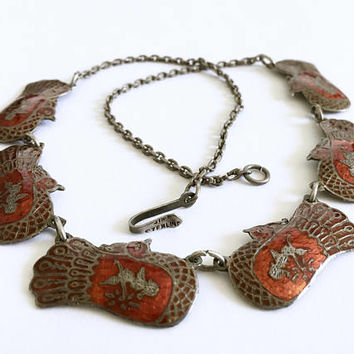Vintage signed Siam Sterling, Thai Red-Orange Enamel Nielloware with Mekkala the Goddess of Lightening on a Peacock Link, Necklace Choker