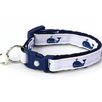 Nautical Cat Collar - Navy Whales on White - Kitten or Large Size