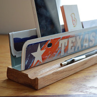 Texas License Plate Desk Organizer - Business Card Holder - Desk Phone Stand - Metal Business Card Holder - Office Decor - Desk Accessories