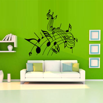 Wall decal decor decals sticker art vnyl design note sound music club bedroom play lounge room (m1223)