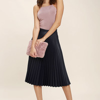 Like a Phenomenon Navy Blue Pleated Midi Skirt