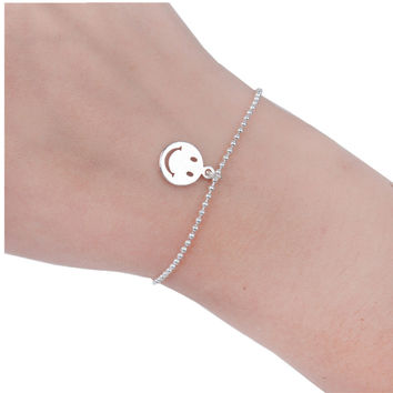 "8SEASONS Copper Bracelets Silver Plated Round Smiley Emoji Face Charms Ball Chain Lobster Clasp Extended Chain 16.5cm(6 4 8"")"