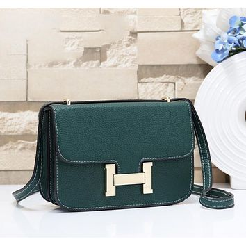 Hermes Fashion New Leather Shopping Leisure Shoulder Bag Women Green