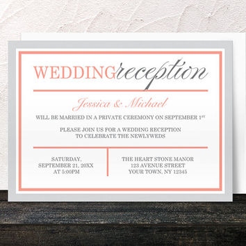 Modern Coral Gray Winter Reception Only Invitations - Post Wedding Reception - Printed Invitations