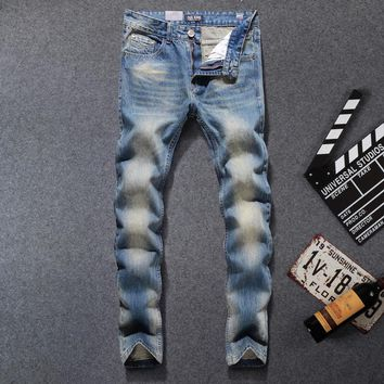 Preppy Style Blue Jeans Men 31-40 Regular Fit Denim Jean Pants Male High Quality Dsel Brand Men`s Jeans C616