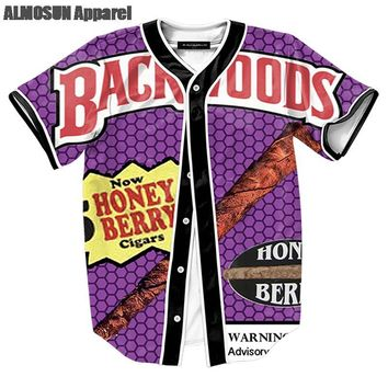 ALMOSUN Backwoods Honey Berry Blunts Jersey All Over Print Baseball T-Shirt Summer  Short Sleeve Street Hipster Hip Hop