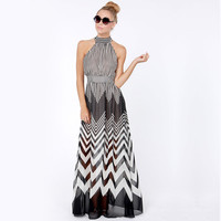 Black & White Stripe Print Chevron Off Shoulder Halter Neck Semi-sheer Maxi Dress
