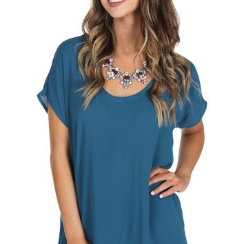 Round Neck Classic Blouse Teal