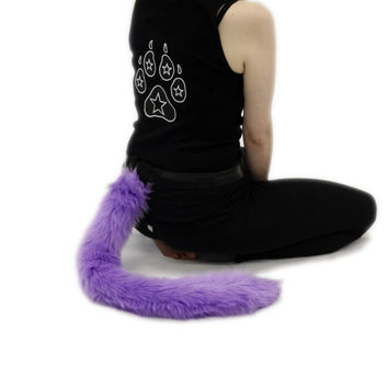 PAWSTAR Kitty Cat Tail Lavender Pastel Purple You Pick Color Adult Unisex Costume Cosplay Animal Fur White Purple Black Grey Brown Tan 3500