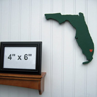 "Miami Hurricanes ""State Heart"" wall art, handcrafted wood with official team colors"