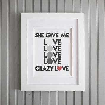 Wedding Song Lyrics Print, Crazy Love Lyrics, Van Morrison Print, Wedding Song, First Dance Print, First Dance Lyrics Poster Wall Art