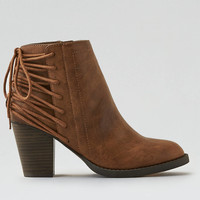 AEO Lace-Up Heeled Bootie, Tan