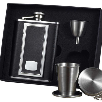 Visol SP Black Leather 6oz Stellar Flask Gift Set