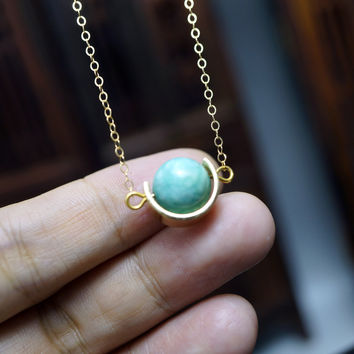 Tiny Natural Gold Amazonite Necklace - Globe Cresent Moon Pendant