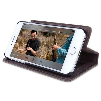 ESBON2D Twelve South BookBook for iPhone 8 Plus/ 7 Plus/ 6 Plus | 3-in-1 leather wallet case, display stand and removable shell (brown)