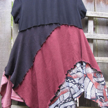 Maroon Black Tribal Hippie Tunic Top Lagenlook Upcycled/ Funky Asymmetrical Eco Blouse/ Hi Lo Womens Tops L/XL