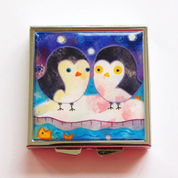 Pill Box, Square Pill box, Pill Case, Square Pill case, 4 Sections, Lauren Alexander, Penguins, KellysMagnets (4081)
