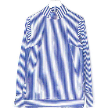 High Collar Striped Shirt