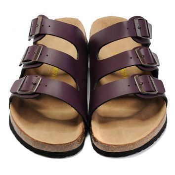 Birkenstock Leather Cork Flats Shoes Women Men Casual Sandals Shoes Soft Footbed Slippers-187