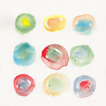 Abstract watercolor painting art minimal modern contemporary artwork colorful circles radius rhythm