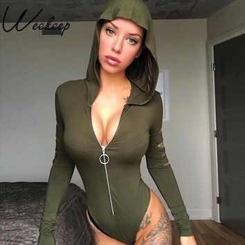 Weekeep Sexy Hooded Hole Hollow Out Bodysuit Women Long Sleeve Bodycon Bodysuits Front Zipper Party&Club Body Feminino Romper