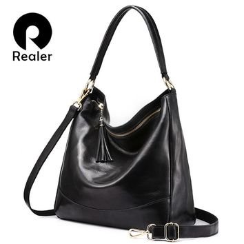 REALER brand women leather handbags female genuine leather shoulder crossbody bag large hobos tote bag with tassel Black/Brown
