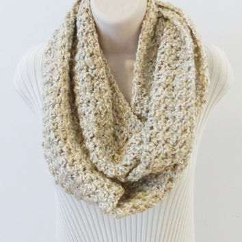 INFINITY SCARF Loop Cowl. Cream, Beige, Tan, Off White, Crochet cowl scarves, knit Women's Scarf, Ivory Circle Scarf, Winter Accessories