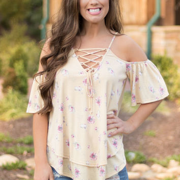 Sunray Floral Lace-Up Top