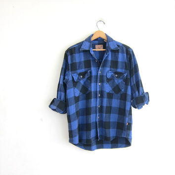 Vintage blue and black Buffalo check Plaid Flannel / Grunge Shirt / boyfriend shirt