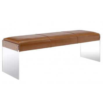 Bannon Faux Leather Bench, Brown