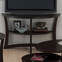 "Skylash Espresso 48"" Contemporary Demilune Sofa Table or TV Stand Shelf"