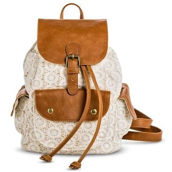 Women's Crochet Overlay Backpack Handbag - Ivory