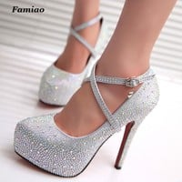 FAMIAO women high heels prom wedding shoes lady crystal platforms silver Glitter rhine