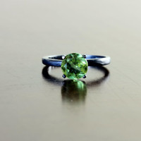 7mm Peridot Solitaire Ring on Oxidized Sterling Custom Made in Your Size