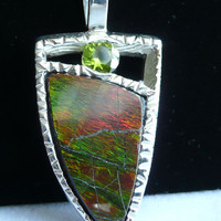 Ammolite and Peridot Sterling Silver Pendant by cutterstone