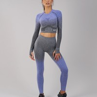 Gymshark Ombre Seamless Crop Top - Indigo/Black