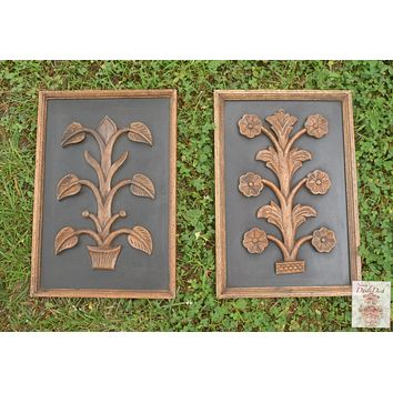 Pair Architectural Door Vintage Carved Wood Topiary Botanical Wall Plaques