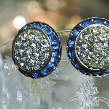 Lisner Earrings Rhinestone Clip On Designer Earrings 1960s 60s Mid Century High Fashion Sapphire Aquamarine Blue Rhinestones Button Style